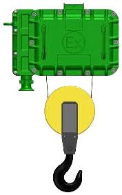 Серия ВТ01, ВT17 - тельфер электрический взрывозащищенный канатный стационраный в исполненнии на пальцах
