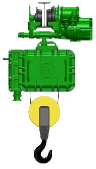 Серия ВТ10, ВT39 - тельфер электрический взрывозащищенный канатный передвижной