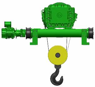 Серия ВТ81, ВT82 - тельфер электрический взрывозащищенный канатный передвижной в исполнении крановой тележки